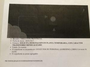 La carátula de un expediente que transita las dependencias hace más de un año: ahora cuenta con la leyenda RECLAMO DE HABERES.