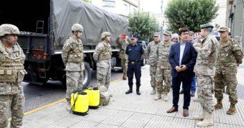 Fernando Espinoza puso en marcha la distribución de alimentos en conjunto con el Ejército Argentino